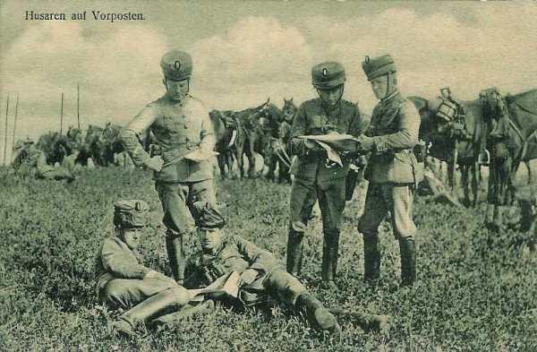 Huszards allemands en reconnaissance.