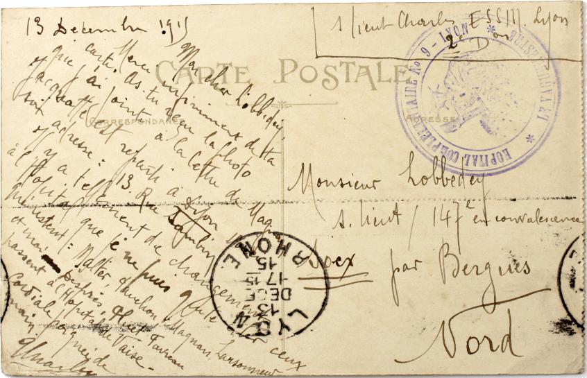 Carte postale reçue par Émile Lobbedey