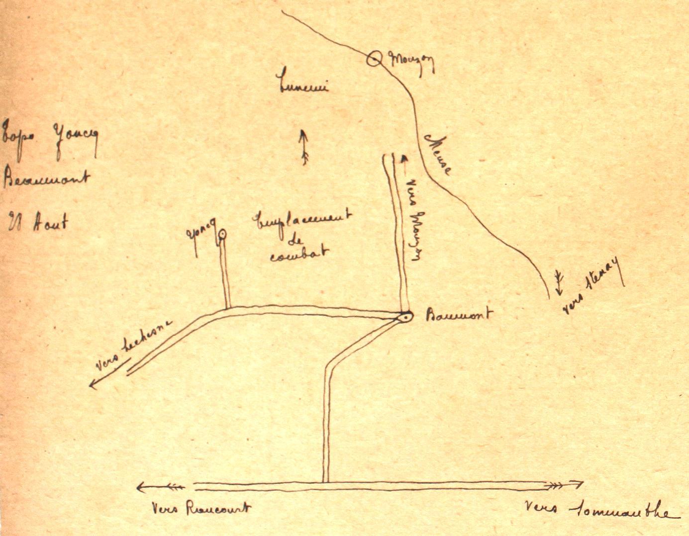 Plan établi par Émile Lobbedey ; ci-dessous : carte d'état-major correspondante.