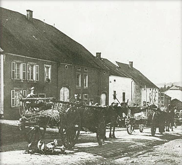 Ramassage des blessés dans des chariots